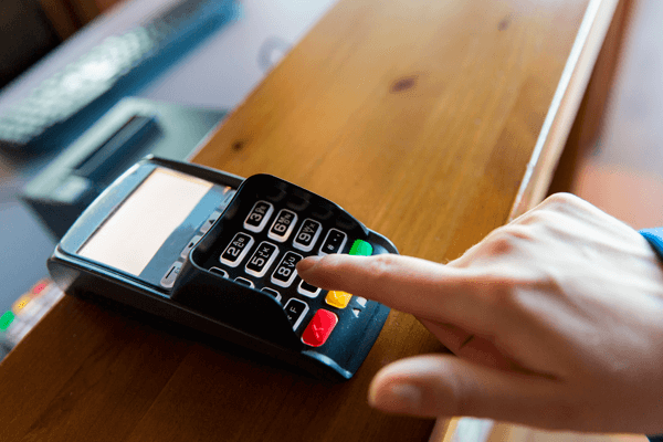 payment terminal on countertop