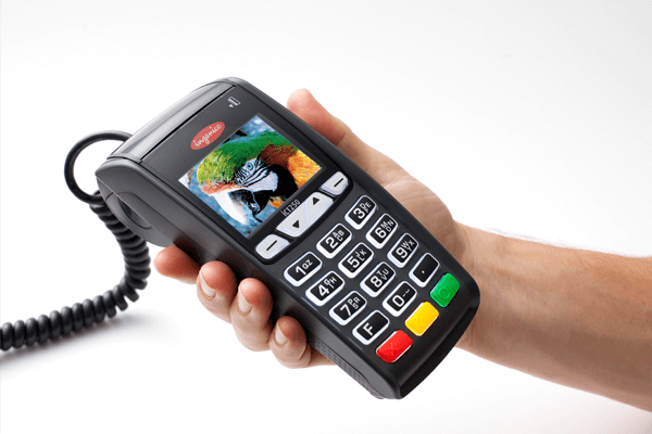 payment terminal in hands