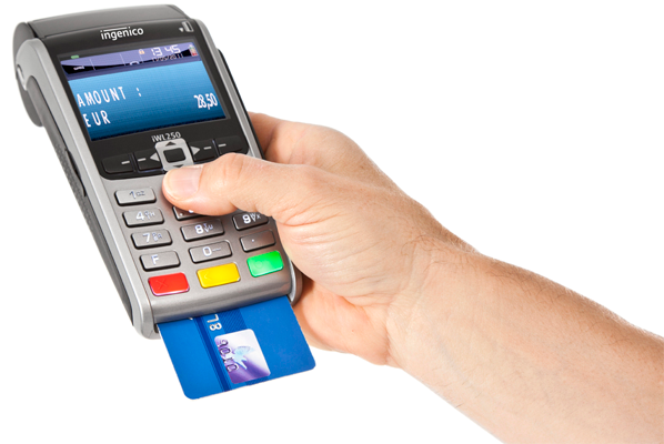 Ingenico Payment terminal iWL250 in hands with bank card